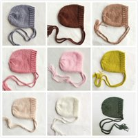 Soft Knitted Baby Hat Newborn Photo Props Caps Solid Color I...