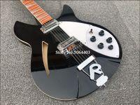 RIC 330 12 cuerdas Guitarra Negro Brillo Semi Hollow Body Electric barniz brillante palisandro, 5 Konbs, 2 conectores de salida, sola F agujero