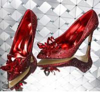 Hot Sale-Bestnote Cinderella Kristallschuhe Brauen Strass Hochzeit Schuhe mit Blumen-echtes Leder Big Small Size 33 34 bis 40 41