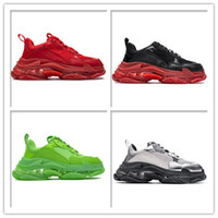 2019 New Paris Luxury Triple S Sneakers Crystal Transparent Green Red Silver Shoes Mens Womens Designer Casual Calzado Zapatillas de deporte