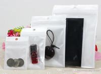 12 * 20 cm Trasparente + bianco perla Plastica Poli OPP imballaggio Chiusura con zip Pacchetti vendita al dettaglio Gioielli USB Borsa in PVC 10 * 18 cm 6 * 10 cm 7,5 * 12 cm 16x24 cm 18x26 cm