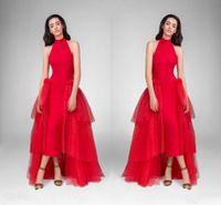 Vestidos de fiesta con cuello alto de color rojo con encanto, con tul Hi Lo El traje rojo de moda se viste de forma personalizada