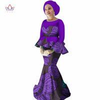 Этническая одежда 2021 Spring юбка набор африканский дизайн традиционные печати плюс размер вечернее платье с бесплатной головкой шарф WY2251
