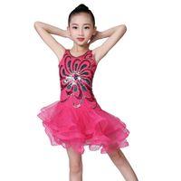 Çocuk Dans Elbise Sequins Mesh Kabarık Çocuk Kostümleri Latin Dans Performansı Etek