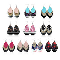 Three Layers Leather Teardrop Earrings Multilayer Colorful S...