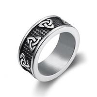 Viking rostfritt stål Celtic Knot Ring Men Nordic Trinity Wedding Rings Womens Silver Band Lova Smycken