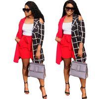 Fashion Frauen Outfits 3/4 Hülsen-Patchwork-Grid-Mantel-Jacke + Rothosen 2-teiliges Set Damen Design-Mäntel Tops Anzug Street Anzug