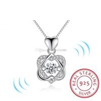 Beliebte Trendy Classic Drehen Tanzen CZ Stein 925 Sterling Silber Herz Anhänger Halskette Für Frauen Modeschmuck Geschenk Für Liebe
