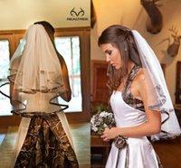 Camo véus nupciais em noiva véu véu cotovelo comprimento de duas camadas simples artesanal nobre tulle camo fita borda véu headwear pente