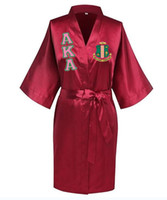 Sorority Fraternity Loose Silk Bathrobe Lace Satin AKA Clothes Robe