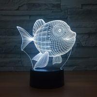 Art Deco Fish 3D LED Nachtlicht 7 Farbe Berührungsschalter LED-Beleuchtung Kunststoff Lampenragen 3D USB Powered Nachtlicht Atmosphäre Neuheit Beleuchtung