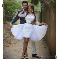 Weiße Spitze Heimkehr Kleider Juwel Hals mit 3/4 langen Ärmeln Gürtel Perlen über Knie Länge Mini Cocktail Party Kleid mit Overkirt