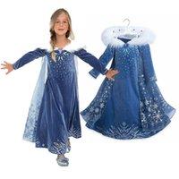 Neue Schneekönigin Kleid gedruckt Kleider Winter-lange Hülsen-Mantel Prinzessin Party volles Kleid Leistung Rock 3-8T Großhandel JY918