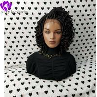 Nouveau noir Tresse dentelle naturel Frontal Boîte Tresses avec des conseils bouclés longue perruque bouclée dentelle tresses crépus avec les cheveux de bébé pour les femmes