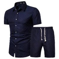 Camicie Uomo Summer Set hawaiana floreali + Beach Shorts 2 collega gli insiemi di Quick Dry manica corta tuta maschile Imposta Ropa Hombre