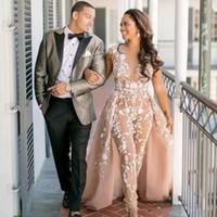Nuevos Champagne mono vestidos de novia de encaje con sobrefalda Sheer V cuello del casquillo Vestidos de novia de manga barrido tren vestido de novia Arabia Árabe 573