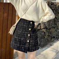 Nouvelle jupe courte seule une ligne de ceinture de laine taille haute 'femmes de la mode tweed mince poitrine Bottillon taille plus jupe M L XL XXL 3XL 4XL