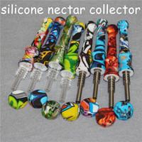 20 pcs Silicone Nectar Coletor com 14mm Titanium Dica Portátil Hookahs Mini Colecionadores Colecionadores De Vidro Dab Palha Tubos De Silicone De Silicone
