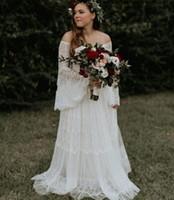 Sommer Böhmische Brautkleider 2019 Schulterfrei Lange Trompete Ärmel Sweep Zug Spitze Landgarten Boho Brautkleider robe de mariee