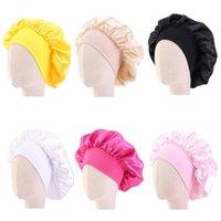8 km Satin Night Sleep Cap Kids Girl Hair Care Bonnet Hat Elastic Wide Band Cover Wrap Hat Turban Beanies Skullies Shower Cap