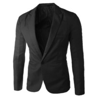 Moda Erkekler Tek Düğme Suit Kat Biçimsel Günlük Elbise Slim Fit Blazer Ceket