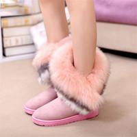 Invierno nuevo gran pelo de conejo de piel de zorro wonan botas para la nieve botas de nieve para mujer escuela secundaria Niño grande Muchachas zapatos de algodón cálido