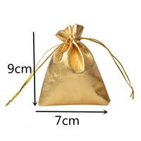7x9cm 100шт / серия Золото Серебро кулиской подарки Сумки Jewelry Организатор сумки атласная Рождество Свадьба Благоприятная Упаковка мешок