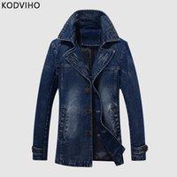 Mannen denim jasje lente herfst casual zwart blauwe jas heren slanke uitloper jassen zakelijke slijtage 5XL solide katoen man jassen Hombre