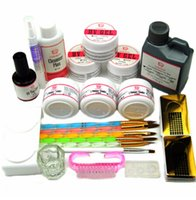 UV Gel Acrylic Powder Sets 120ml Brushes Nail Art Tips Base ...