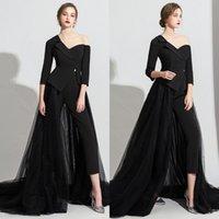 파티 드레스 블랙 Jumpsuit 2021 오버 킷 긴 소매와 저녁 두 조각 공식 무도회 드레스 roves de soirée