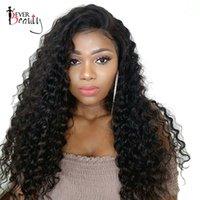 Dantel Ön İnsan Saç Peruk İçin Siyah Kadın% 250 Yoğunluk Brezilyalı Kıvırcık Remy saç Hiç Güzellik 14-24inch Doğal Siyah