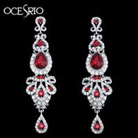 OCESRIO Luxus lange rote Ohrringe für Hochzeit Frauen-Kristall-große Ohrringe mit Steinen Modeschmuck pendientes Mujer ERS-H41