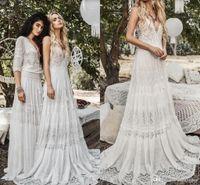 2019 Flowy Chiffon Lace Beach Boho Vestidos De Noiva Modest Vintage Crochet Lace V-Neck Férias De Verão Country Dress Nupcial