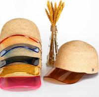 المرأة القش قبعة بيسبول م رسالة شفافة pvc المرقعة القش تنفس قبعة الصيف snapback قبعة قناع ljjk1679