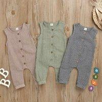 Kinder Designer Kleidung Baby Plaid Strampler Jungen Mädchen Baumwolle Jumpsuits Sommer Lässige Knopf Onesies Infant Sleeveless Steiganüse AYP450