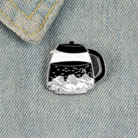 Kaffee topf email pins broschen für frauen night himmel sterne moon schwarz button berg revers pin kreativ abzeichen schmuck geschenk an einen freund