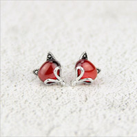 925 brincos de prata versão feminina coreana do pequeno fresco red garnet fox bonito orelha animal jóias