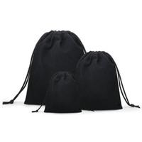 50 stks / partij fluwelen zwart 3 maten sieraden cadeau tassen brace riem pouches groothandel10 * 12cm 7 * 9cm 5 * 7cm B-057-1