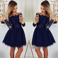 e7884eca32 2019 Long Sleeves Lace Homecoming Dresses Tulle Applique Short Prom  Cocktail Party Dresses Plus Size Vestidos De Festa