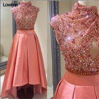 높은 목 산호 구슬 칵테일 드레스 Luxuty hi-lo sequined beaded 짧은 homecoming rom 이브닝 파티 가운 컷 전환 측면