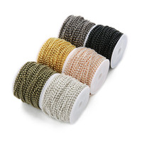 10 Peatios / Rollo 2.4mm Bola de metal Cadenas de cuentas Collar Iron Rose Gold Silver Bronce Cadena negra Hallazgos para la fabricación de joyería de bricolaje
