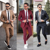 Classy Wedding Tuxedos Groom Attire Burgundy Suits 2020 Cust...
