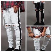 Mens Designer Ripped Jeans Buraco afligido listrado Zipper Jeans Calças Magro Hip Hop motociclista Denim Pants LJJA2543- Skinny