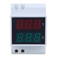 Lista superior de envío gratuito Din-Rail AC 110V / 220V Voltímetro digital Amperímetro Red Volt Green Amp Meter Pantalla LED