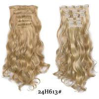 """Saç Uzantıları Weave Uzun Sarışın Saç Sentetik Klipler 20"""" 140g 16 Klipler Yanlış Saç adet Kahverengi Siyah Beyaz Renk"""