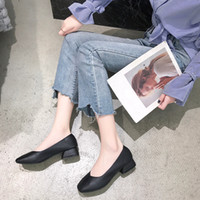 Square Head Single Shoes Female Spring Shallow Mouth Wedge S...