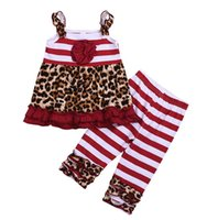 new girls leopard striped cotton dresses & kids red white st...