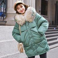 Chaqueta de invierno cálido para mujer 2019 Moda con capucha cuello de piel con capucha Abrigo de algodón para mujer Color sólido coreano suelto de gran tamaño abrigo femenino SH190827