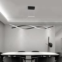 Lustre de pingente moderno para sala de jantar escritório cozinha onda de alumínio lustre avize moderno luminária de iluminação de candelabro 90-260V