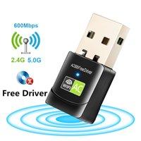 Cartão de condutor sem fio USB Wifi Adapter 600Mbps Lan USB Ethernet 2.4G 5G Dual Band Wifi rede WiFi Dongle 802.11n / g / a / ac